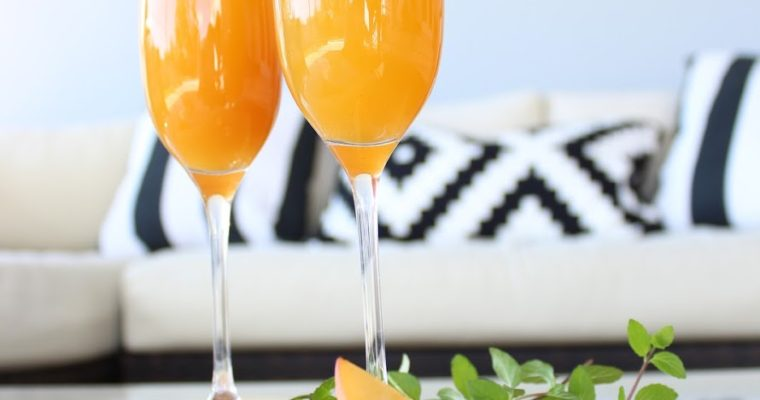 Simple Peach Bellinis on the Patio